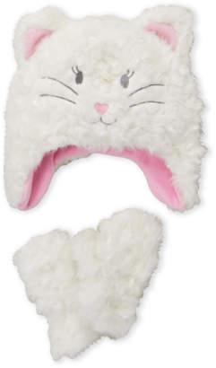 American Boy & Girl (Toddler Girls) White Faux Fur Cat Hat & Gloves Set
