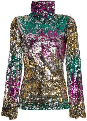 Halpern Sequin embellished high neck top