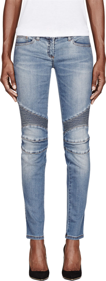 Balmain Blue Ribbed & Reinforced Biker Jeans