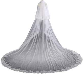 EllieHouse Women's 2 Tier Cathedral Lace Wedding Bridal Veil With Comb L01WT