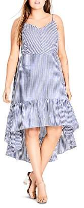 City Chic Plus Mallorca Stripe High/Low Dress