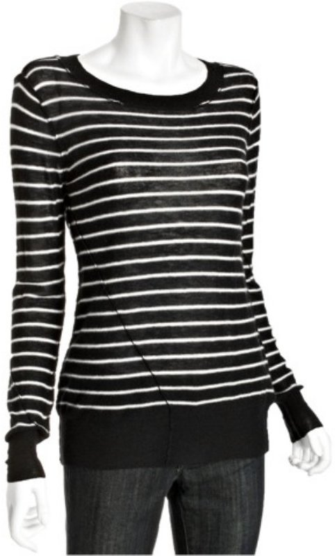 Joie caviar and chalk striped cashmere 'Kenza' sweater
