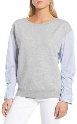 Trouve Knit & Poplin Sweatshirt