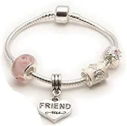 Parfait Liberty Charms Friend 'Pink Parfait' Silver Plated Charm/Bead Bracelet