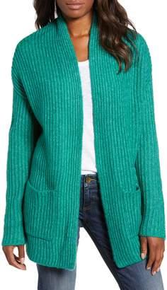 Caslon Fluffy Ribbed Long Sleeve Cardigan