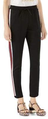 Gucci Crystal-Stripe Jersey Jogger Pants