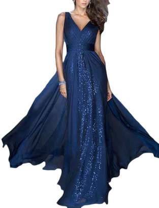 Papijam Womens Sleeveless High Waist Deep V-Neck Solid Color Pleated Swing Maxi Dress