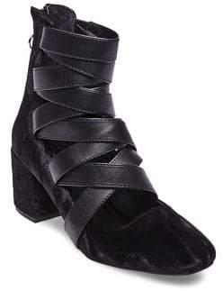 Design Lab Stela Strappy Velvet Mid-Heel Boots