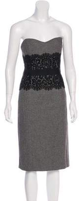 Michael Kors Lace-Trimmed Strapless Dress