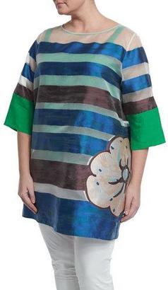 Marina Rinaldi Half-Sleeve Striped Floral Long Tunic, Plus Size $2,260 thestylecure.com