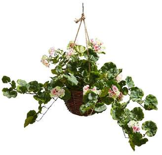 Pure Garden Faux Flower Arrangement With Hanger Basket
