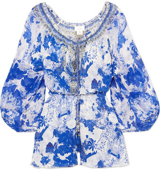 1597b861c97 Camilla Embellished Printed Silk Crepe De Chine Playsuit - Blue