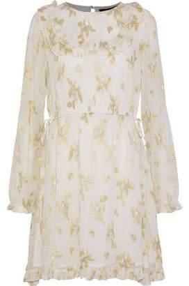 Walter W118 By Baker Tamisha Metallic Ruffled Jacquard Chiffon Mini Dress