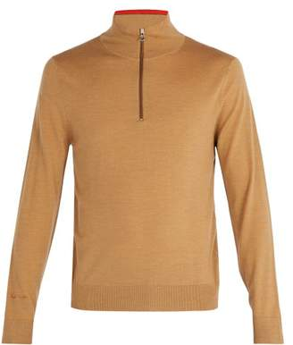 Paul Smith - High Neck Half Zip Merino Wool Sweater - Mens - Beige