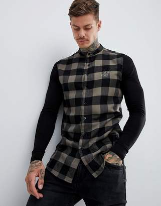SikSilk grandad collar check shirt in khaki with jersey sleeves