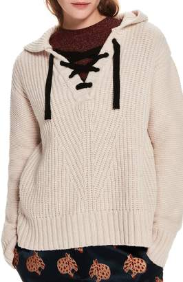 Scotch & Soda Lace-Up Knit Hooded Sweater