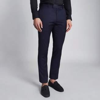 River Island Navy skinny tuxedo pants