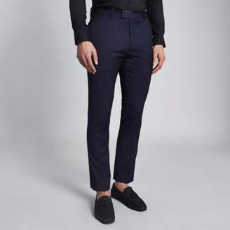 River Island Mens Navy skinny tuxedo pants
