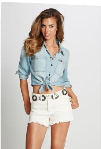 GUESS Charlotte Long-Sleeve Denim Shirt