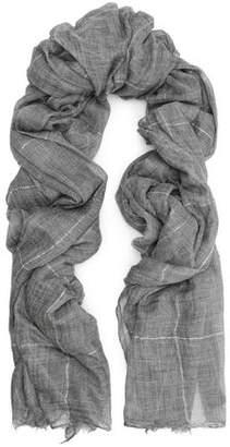 Brunello Cucinelli Frayed Metallic Checked Cashmere Scarf