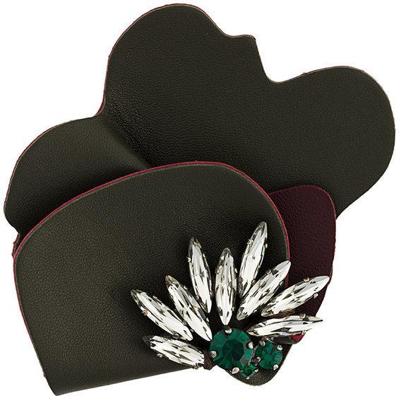 MarniMarni strass leather brooch