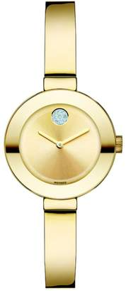 Movado Bold Crystal & Goldtone IP Stainless Steel Bangle Bracelet Watch/25MM