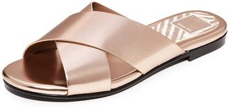 Dolce Vita Karlo Metallic Slide Sandals $80 thestylecure.com