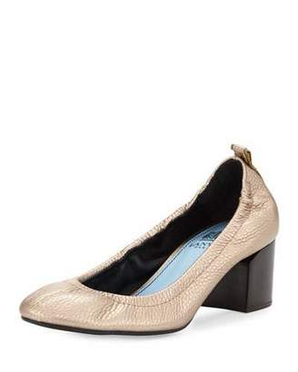 Lanvin Leather Cube-Heel 55mm Ballerina Pump, Bronze $675 thestylecure.com