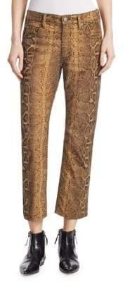Etoile Isabel Marant Apolo Python Print Flare Ankle Pants