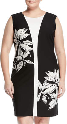 Taylor Color Block Floral Print Sheath Dress, Plus Size