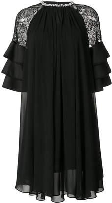 Edward Achour Paris lace shoulder flared dress