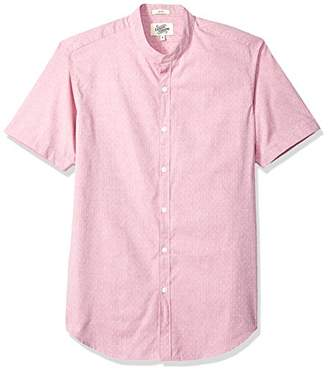 Casual Terrains Men's Tailored Slim-Fit Short-Sleeve Vintage Style Band Collar Shirt