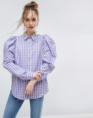Asos Lilac Gingham Check Shirt With Exagerated Shoulder