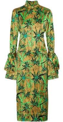 Marni Tie-Back Printed Satin Midi Dress