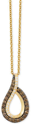 "LeVian Le Vian Chocolatier Diamond Swirl 18"" Pendant Necklace (3/8 ct. t.w.) in 14k Gold"