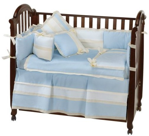Picci USA Positano 4 Pc Set in Soft Blue Ribbed Cotton