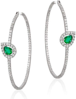 Andreoli 18k White Gold, Emerald & Diamond Hoop Earrings
