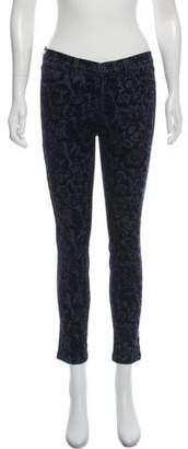 J Brand Velvet Damask Mid-Rise Jeans