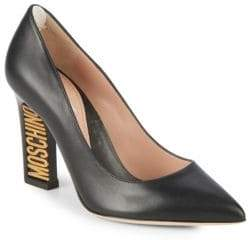 Moschino Logo Heel Leather Pumps