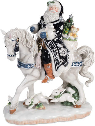 Fitz & Floyd Bristol Holiday Santa on Horse Figurine