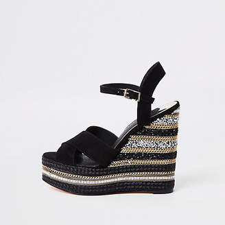 River Island Black rhinestone chain platform wedges