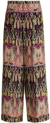 Etro High-rise wide-leg paisley-print silk trousers