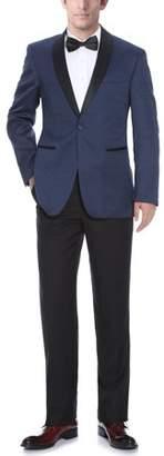 Verno Men's Shawl Collar Blue Textured Tuxedo Slim Fit Blazer