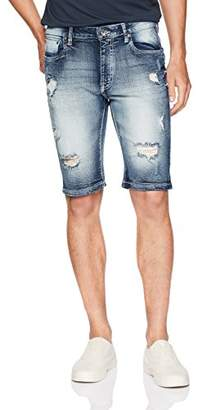 WT02 Men's Stretch Denim Shorts with Destructed Ripped and Repaired