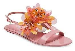 Prada Women's Flat Floral-Embellished Sandals