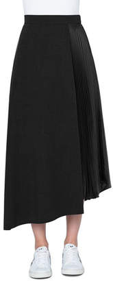 Akris Plisse-Side Asymmetric Midi Skirt, Black