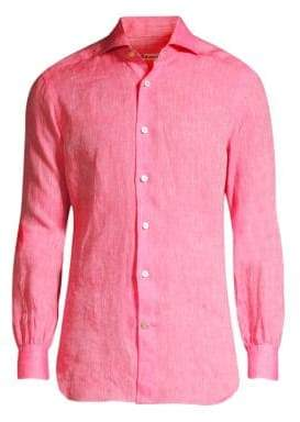 Kiton Solid Linen Button-Down Shirt