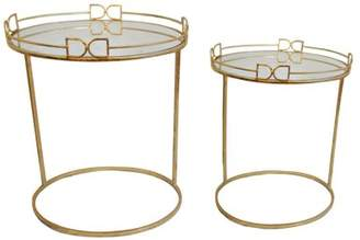 A&B Home Dressage Nesting End Tables With Mirror Top, Set of 2