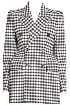 Balenciaga Double-Breasted Gingham Blazer