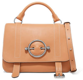 Disc Leather Shoulder Bag - Brown